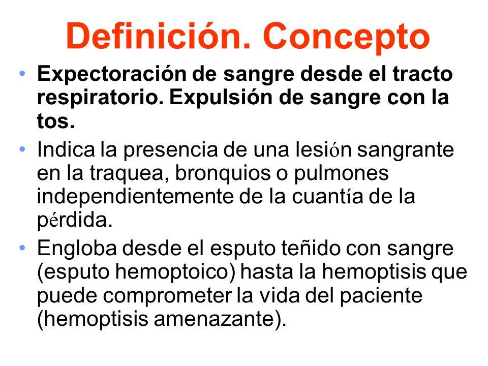 Definición. Concepto Expectoración de sangre desde el tracto respiratorio. Expulsión de sangre con la tos. Indica la presencia de una lesi ó n sangran