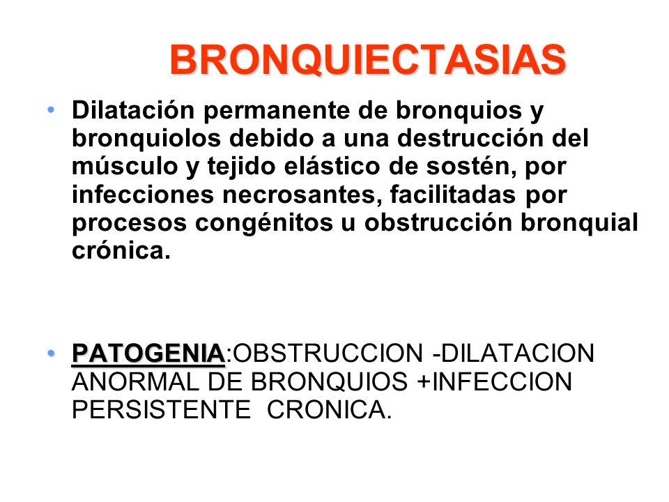 BRONQUIECTASIAS Dilatación permanente de bronquios y bronquiolos debido a una destrucción del músculo y tejido elástico de sostén, por infecciones nec