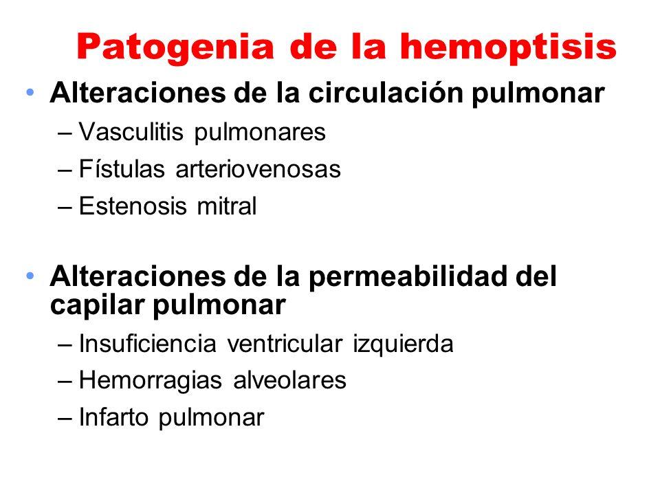 Patogenia de la hemoptisis Alteraciones de la circulación pulmonar –Vasculitis pulmonares –Fístulas arteriovenosas –Estenosis mitral Alteraciones de l