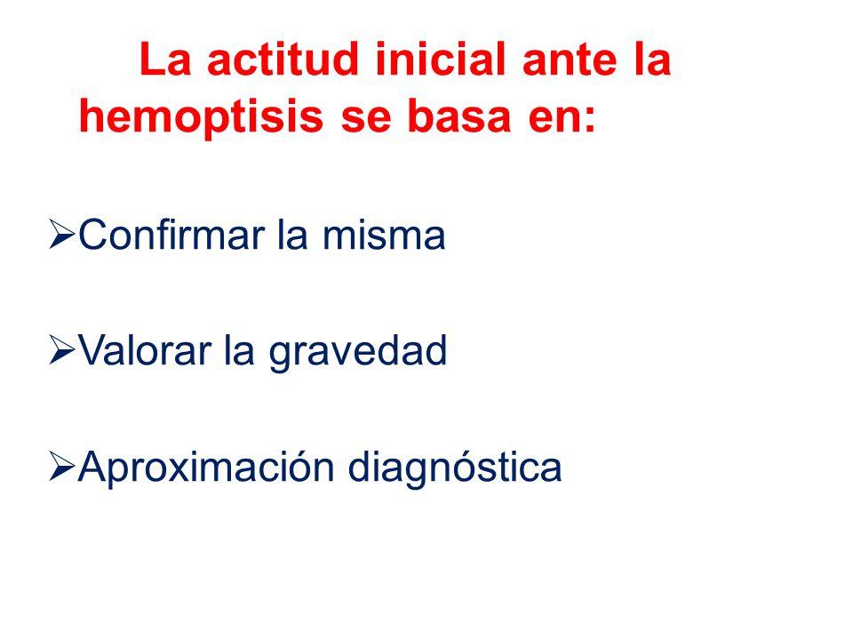 La actitud inicial ante la hemoptisis se basa en: Confirmar la misma Valorar la gravedad Aproximación diagnóstica