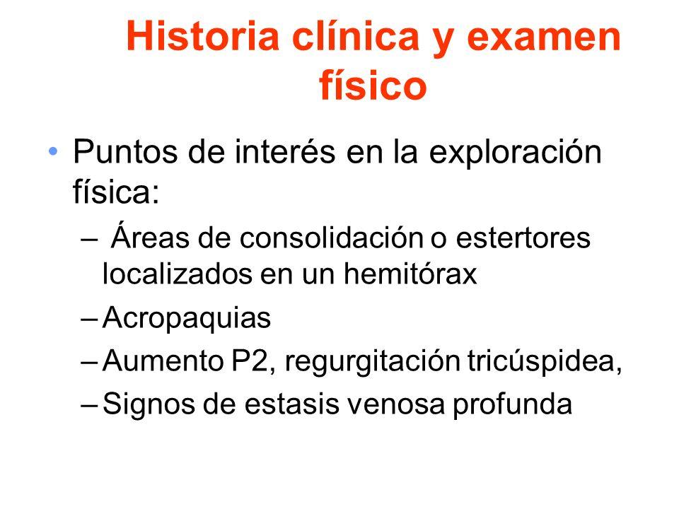Historia clínica y examen físico Puntos de interés en la exploración física: – Áreas de consolidación o estertores localizados en un hemitórax –Acropa