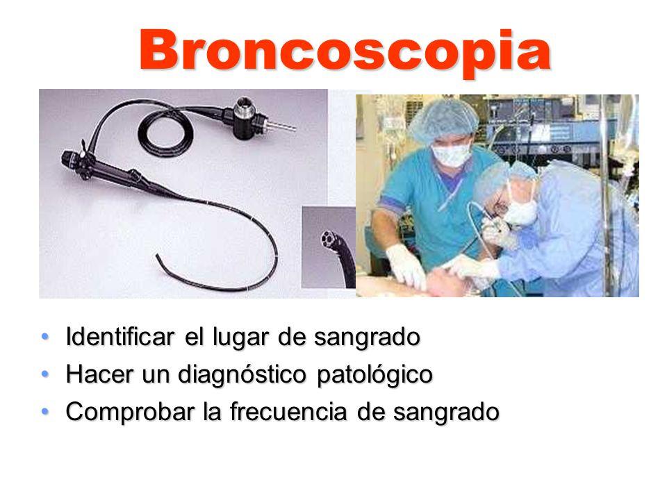 Broncoscopia Identificar el lugar de sangradoIdentificar el lugar de sangrado Hacer un diagnóstico patológicoHacer un diagnóstico patológico Comprobar