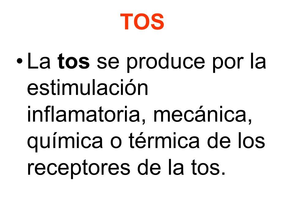 TOS La tos se produce por la estimulación inflamatoria, mecánica, química o térmica de los receptores de la tos.