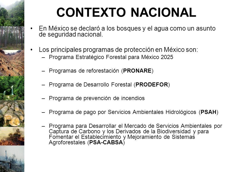 CONTEXTO NACIONAL En México se declaró a los bosques y el agua como un asunto de seguridad nacional. Los principales programas de protección en México