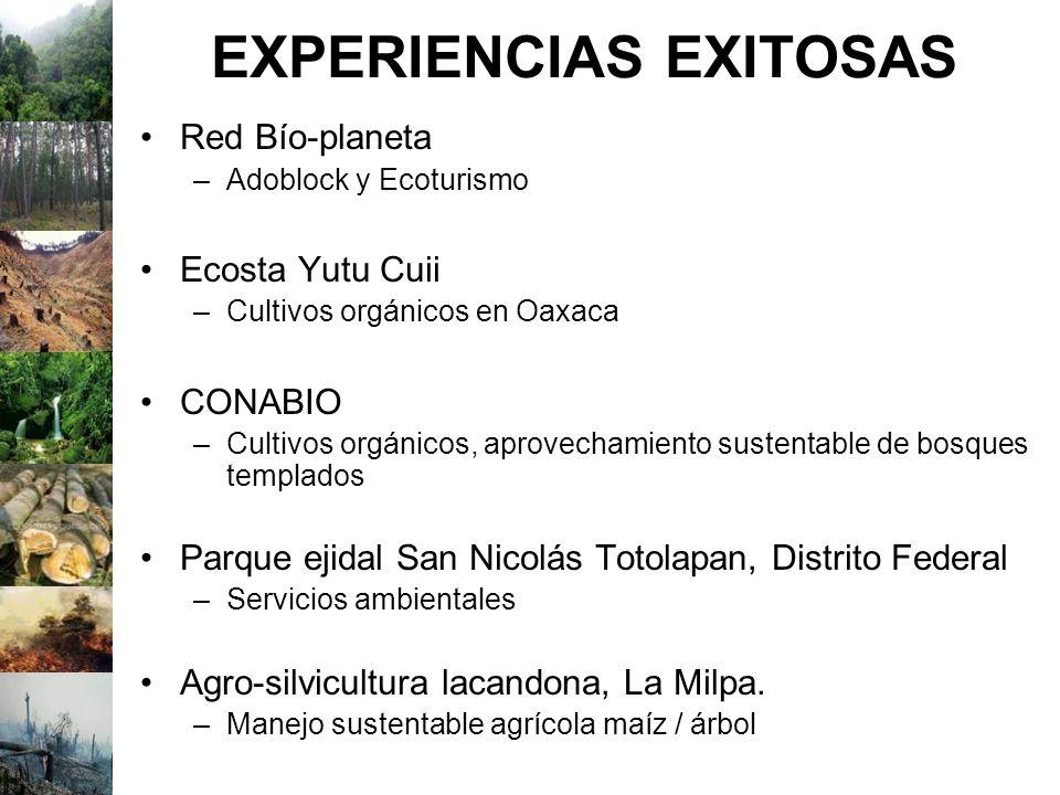 EXPERIENCIAS EXITOSAS Red Bío-planeta –Adoblock y Ecoturismo Ecosta Yutu Cuii –Cultivos orgánicos en Oaxaca CONABIO –Cultivos orgánicos, aprovechamien