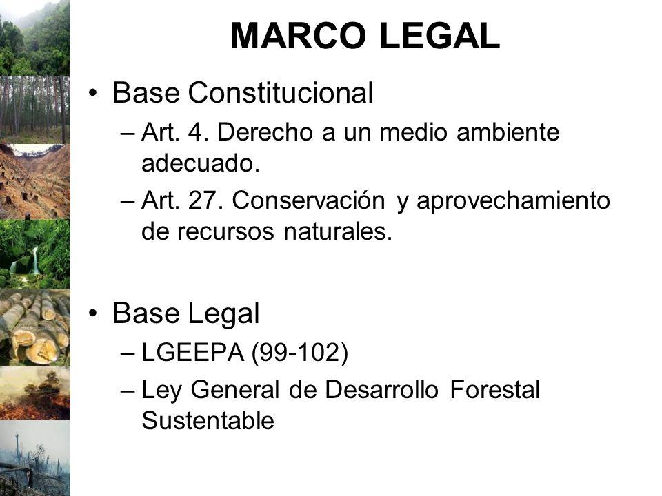 MARCO LEGAL Base Constitucional –Art. 4. Derecho a un medio ambiente adecuado. –Art. 27. Conservación y aprovechamiento de recursos naturales. Base Le