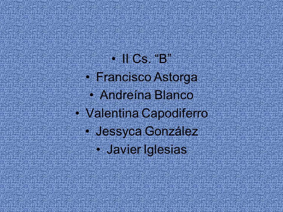 II Cs. B Francisco Astorga Andreína Blanco Valentina Capodiferro Jessyca González Javier Iglesias
