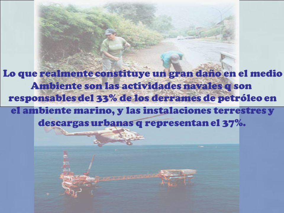 Lo que realmente constituye un gran daño en el medio Ambiente son las actividades navales q son responsables del 33% de los derrames de petróleo en el ambiente marino, y las instalaciones terrestres y descargas urbanas q representan el 37%.