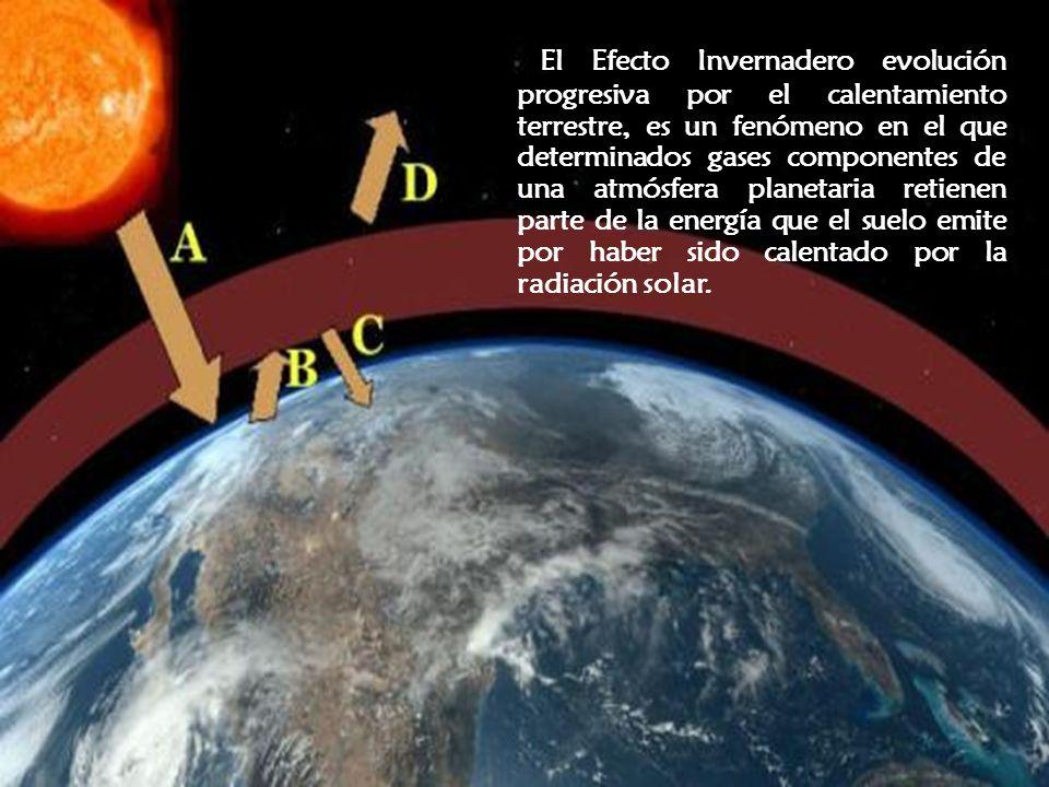 El Efecto Invernadero evolución progresiva por el calentamiento terrestre, es un fenómeno en el que determinados gases componentes de una atmósfera pl