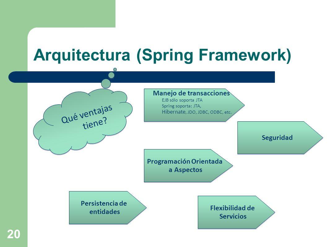 20 Arquitectura (Spring Framework) Qué ventajas tiene? Manejo de transacciones EJB sólo soporta JTA Spring soporta: JTA, Hibernate, JDO, JDBC, ODBC, e