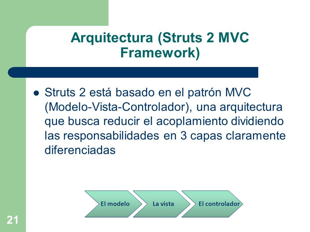 21 Arquitectura (Struts 2 MVC Framework) Struts 2 está basado en el patrón MVC (Modelo-Vista-Controlador), una arquitectura que busca reducir el acopl