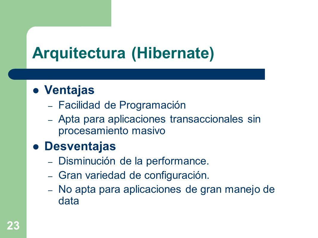 23 Arquitectura (Hibernate) Ventajas – Facilidad de Programación – Apta para aplicaciones transaccionales sin procesamiento masivo Desventajas – Dismi