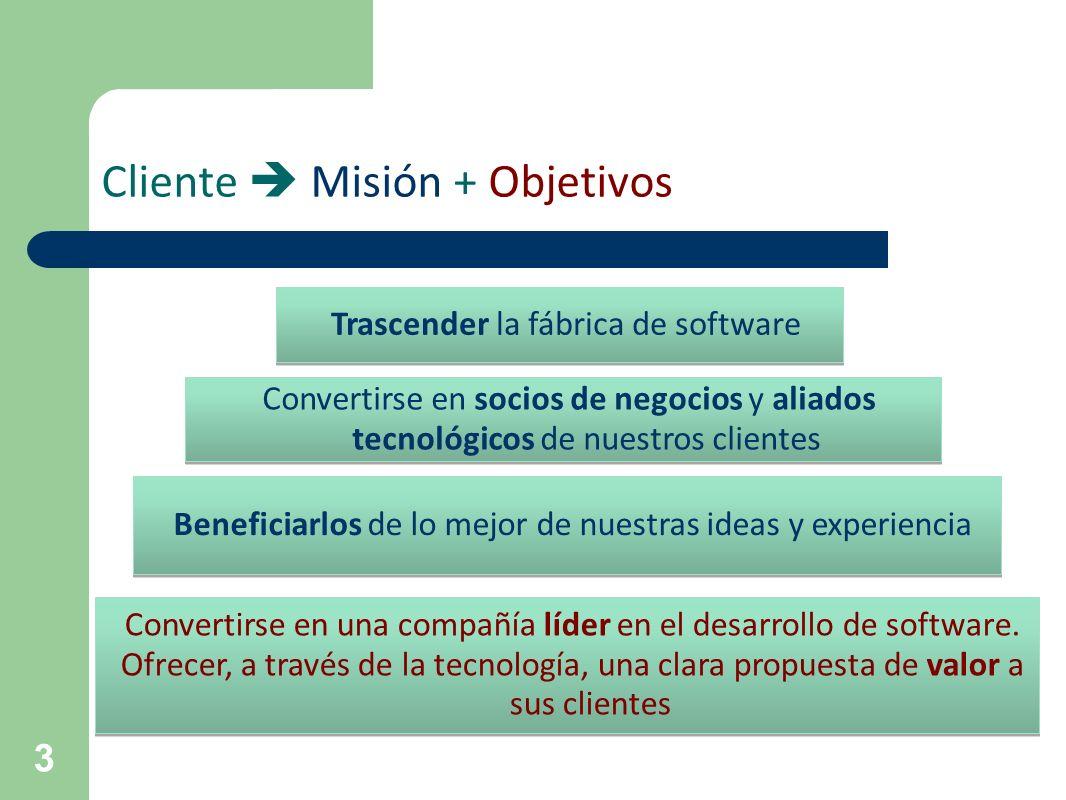 3 Cliente Misión + Objetivos Trascender la fábrica de software Convertirse en socios de negocios y aliados tecnológicos de nuestros clientes Beneficia