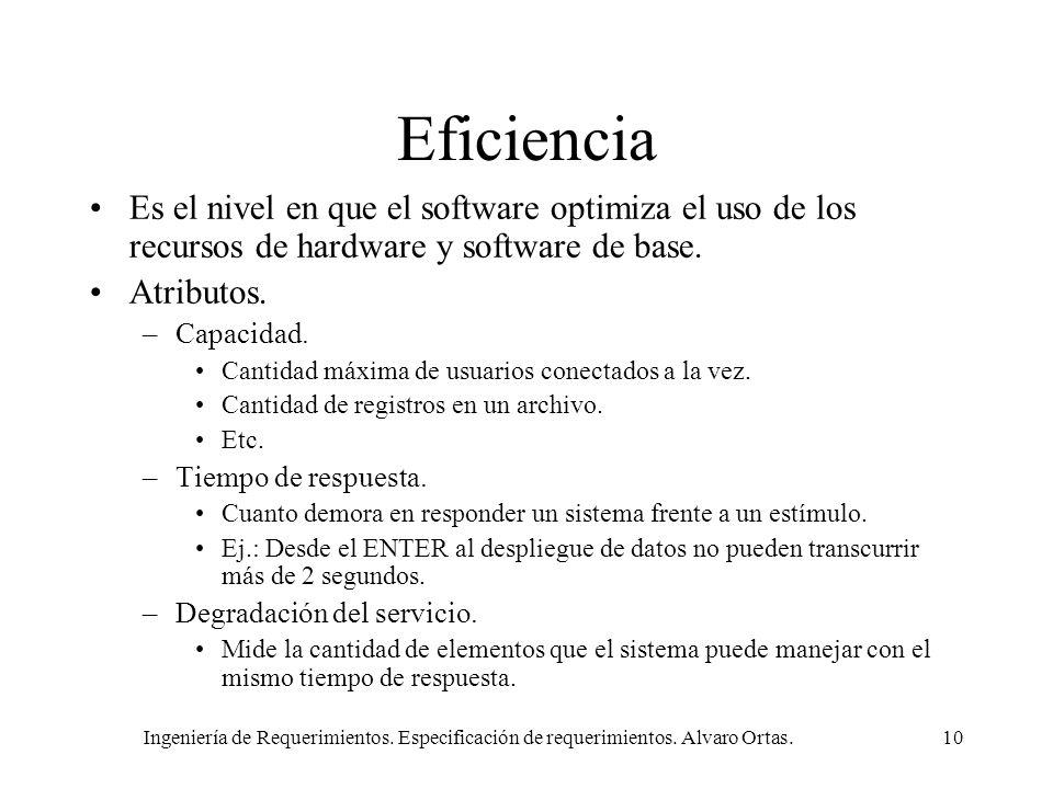 Ingeniería de Requerimientos. Especificación de requerimientos. Alvaro Ortas.10 Eficiencia Es el nivel en que el software optimiza el uso de los recur