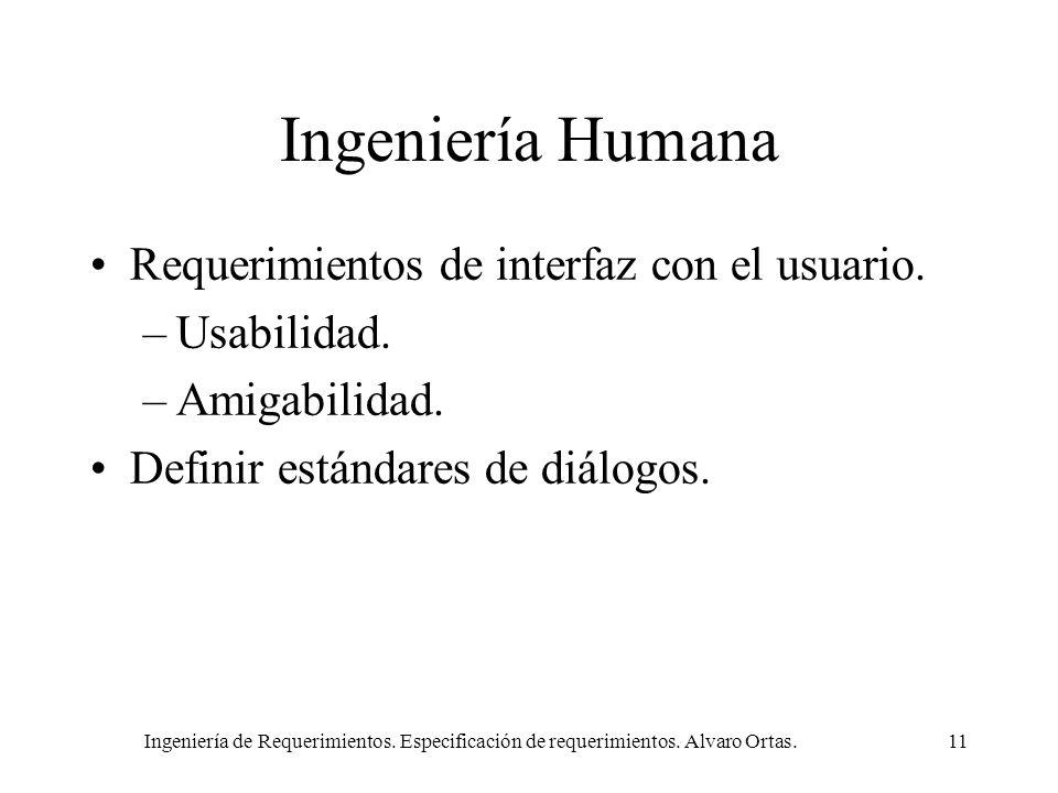 Ingeniería de Requerimientos. Especificación de requerimientos. Alvaro Ortas.11 Ingeniería Humana Requerimientos de interfaz con el usuario. –Usabilid