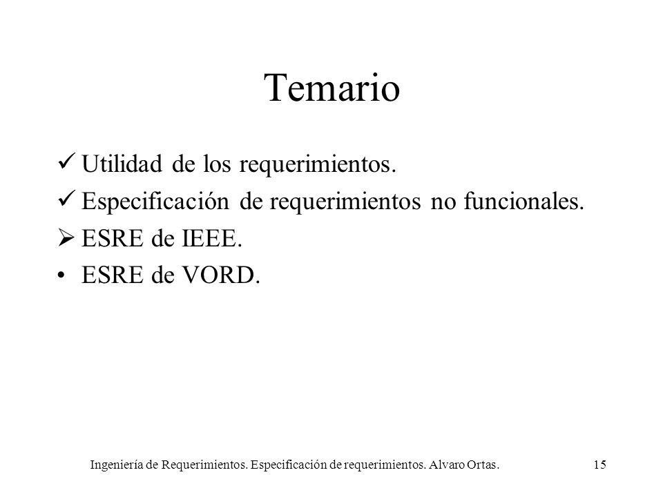 Ingeniería de Requerimientos. Especificación de requerimientos. Alvaro Ortas.15 Temario Utilidad de los requerimientos. Especificación de requerimient