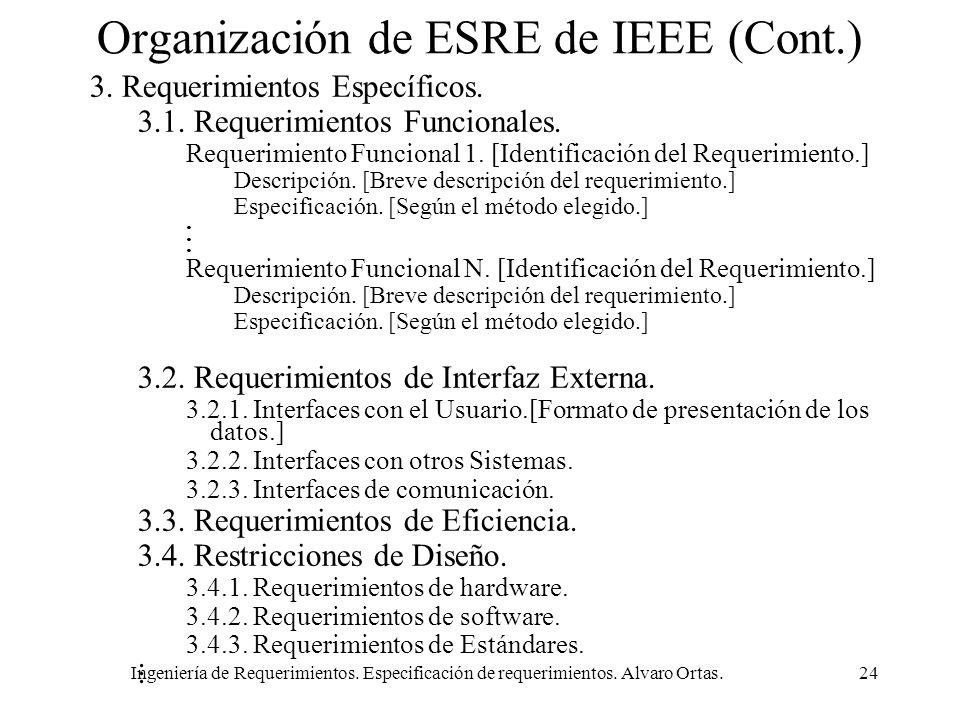 Ingeniería de Requerimientos. Especificación de requerimientos. Alvaro Ortas.24 Organización de ESRE de IEEE (Cont.) 3. Requerimientos Específicos. 3.