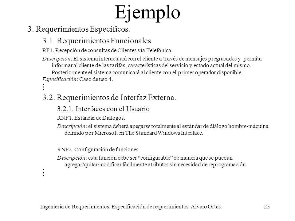 Ingeniería de Requerimientos. Especificación de requerimientos. Alvaro Ortas.25 Ejemplo 3. Requerimientos Específicos. 3.1. Requerimientos Funcionales