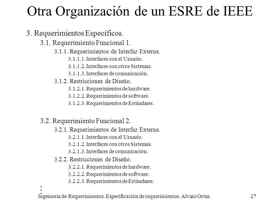 Ingeniería de Requerimientos. Especificación de requerimientos. Alvaro Ortas.27 Otra Organización de un ESRE de IEEE 3. Requerimientos Específicos. 3.