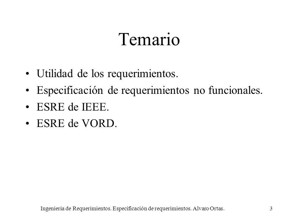 Ingeniería de Requerimientos. Especificación de requerimientos. Alvaro Ortas.3 Temario Utilidad de los requerimientos. Especificación de requerimiento