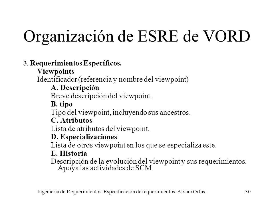 Ingeniería de Requerimientos. Especificación de requerimientos. Alvaro Ortas.30 Organización de ESRE de VORD 3. Requerimientos Específicos. Viewpoints