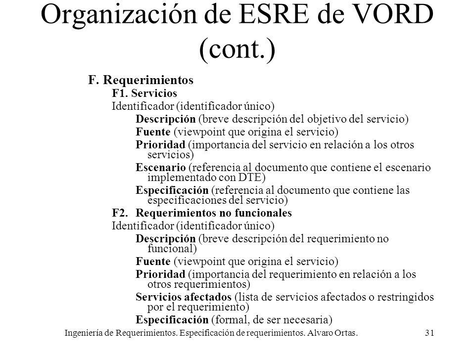 Ingeniería de Requerimientos. Especificación de requerimientos. Alvaro Ortas.31 Organización de ESRE de VORD (cont.) F. Requerimientos F1. Servicios I