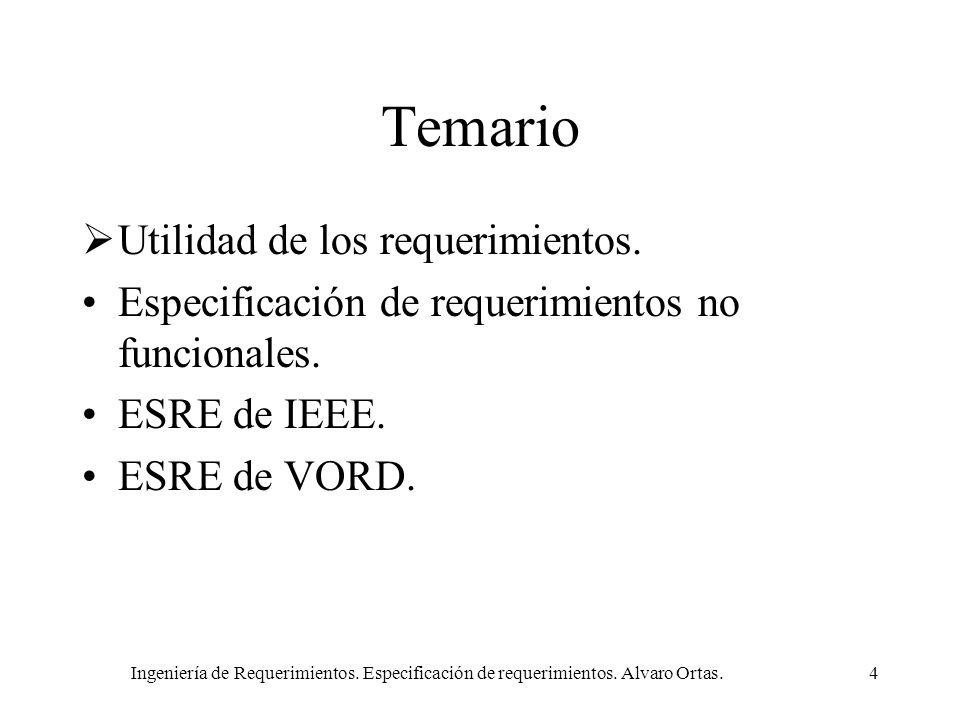 Ingeniería de Requerimientos. Especificación de requerimientos. Alvaro Ortas.4 Temario Utilidad de los requerimientos. Especificación de requerimiento