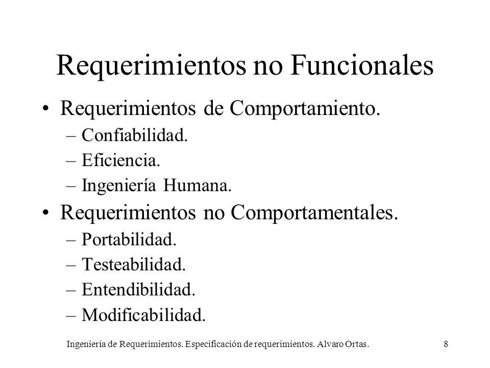 Ingeniería de Requerimientos. Especificación de requerimientos. Alvaro Ortas.8 Requerimientos no Funcionales Requerimientos de Comportamiento. –Confia