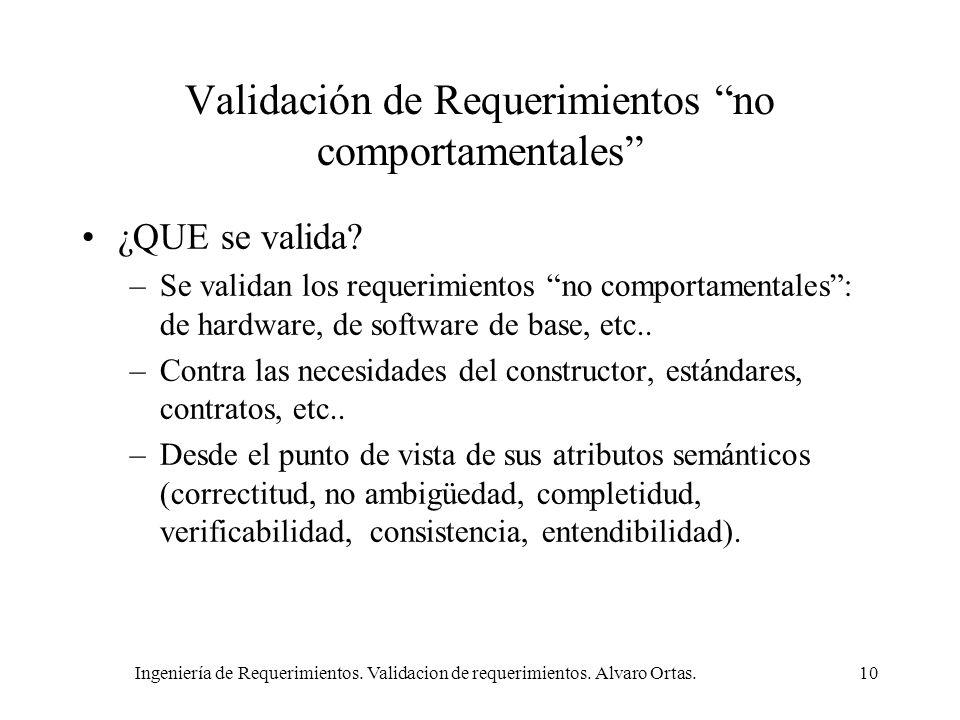 Ingeniería de Requerimientos. Validacion de requerimientos. Alvaro Ortas.10 Validación de Requerimientos no comportamentales ¿QUE se valida? –Se valid