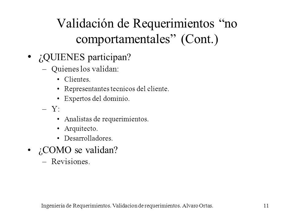 Ingeniería de Requerimientos. Validacion de requerimientos. Alvaro Ortas.11 Validación de Requerimientos no comportamentales (Cont.) ¿ QUIENES partici