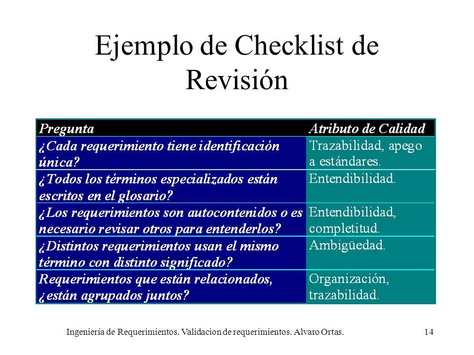 Ingeniería de Requerimientos. Validacion de requerimientos. Alvaro Ortas.14 Ejemplo de Checklist de Revisión