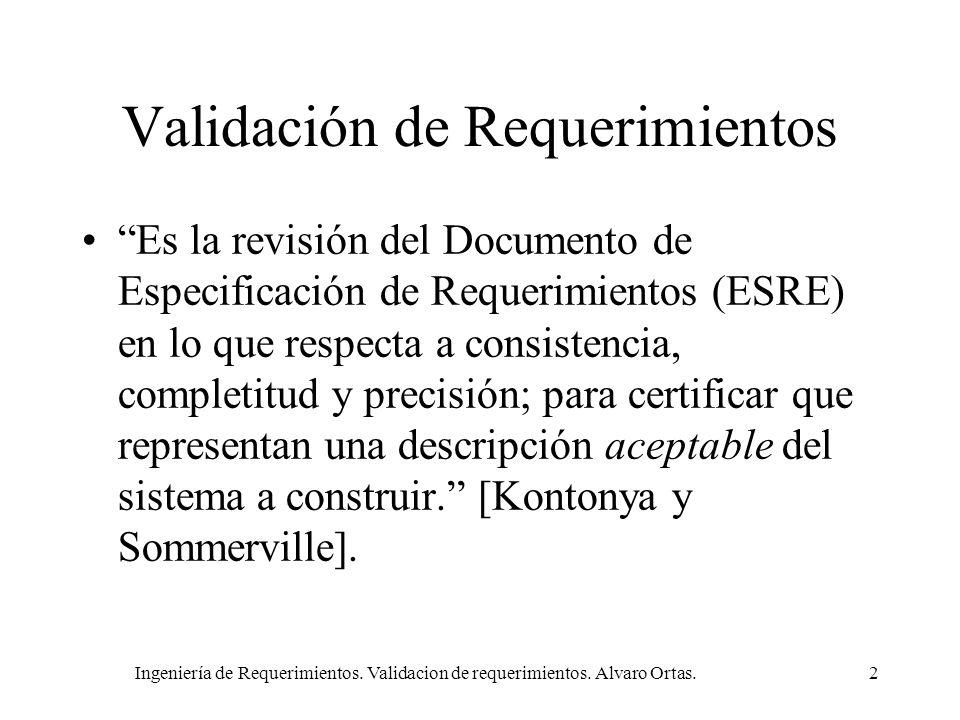 Ingeniería de Requerimientos. Validacion de requerimientos. Alvaro Ortas.2 Validación de Requerimientos Es la revisión del Documento de Especificación