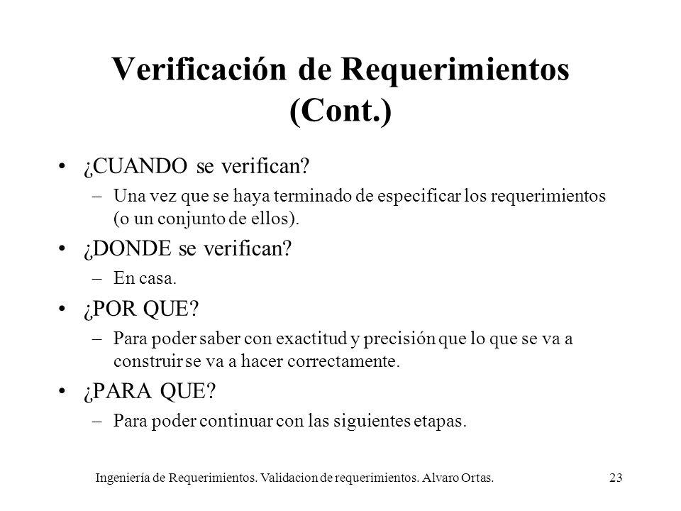 Ingeniería de Requerimientos. Validacion de requerimientos. Alvaro Ortas.23 Verificación de Requerimientos (Cont.) ¿CUANDO se verifican? –Una vez que