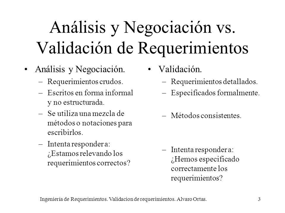 Ingeniería de Requerimientos. Validacion de requerimientos. Alvaro Ortas.3 Análisis y Negociación vs. Validación de Requerimientos Análisis y Negociac