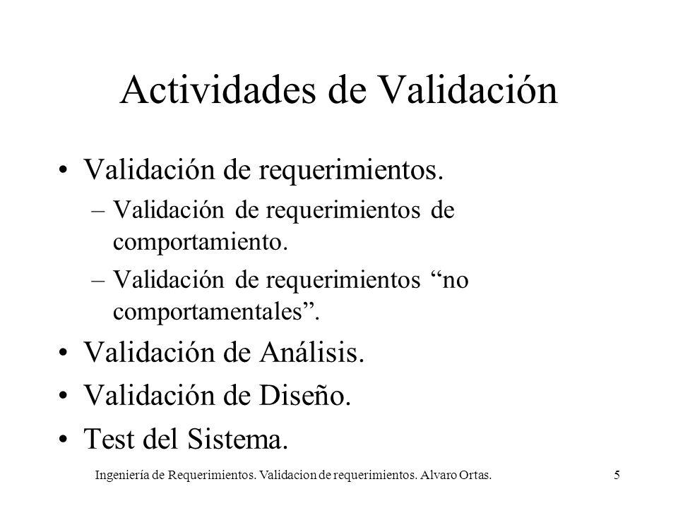 Ingeniería de Requerimientos. Validacion de requerimientos. Alvaro Ortas.5 Actividades de Validación Validación de requerimientos. –Validación de requ