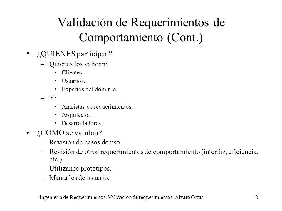 Ingeniería de Requerimientos. Validacion de requerimientos. Alvaro Ortas.8 Validación de Requerimientos de Comportamiento (Cont.) ¿ QUIENES participan