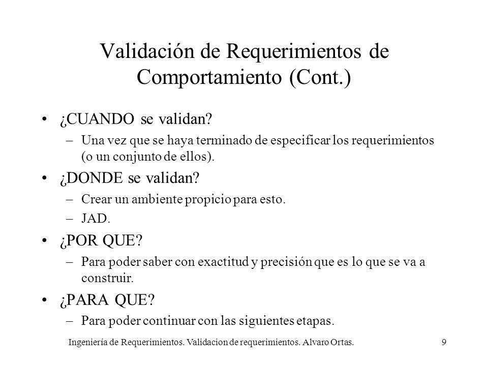Ingeniería de Requerimientos. Validacion de requerimientos. Alvaro Ortas.9 Validación de Requerimientos de Comportamiento (Cont.) ¿CUANDO se validan?