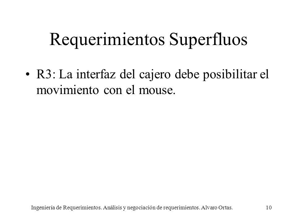 Ingeniería de Requerimientos. Análisis y negociación de requerimientos. Alvaro Ortas.10 Requerimientos Superfluos R3: La interfaz del cajero debe posi