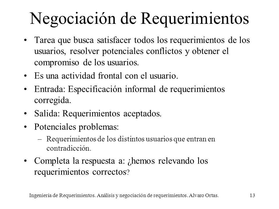 Ingeniería de Requerimientos. Análisis y negociación de requerimientos. Alvaro Ortas.13 Negociación de Requerimientos Tarea que busca satisfacer todos
