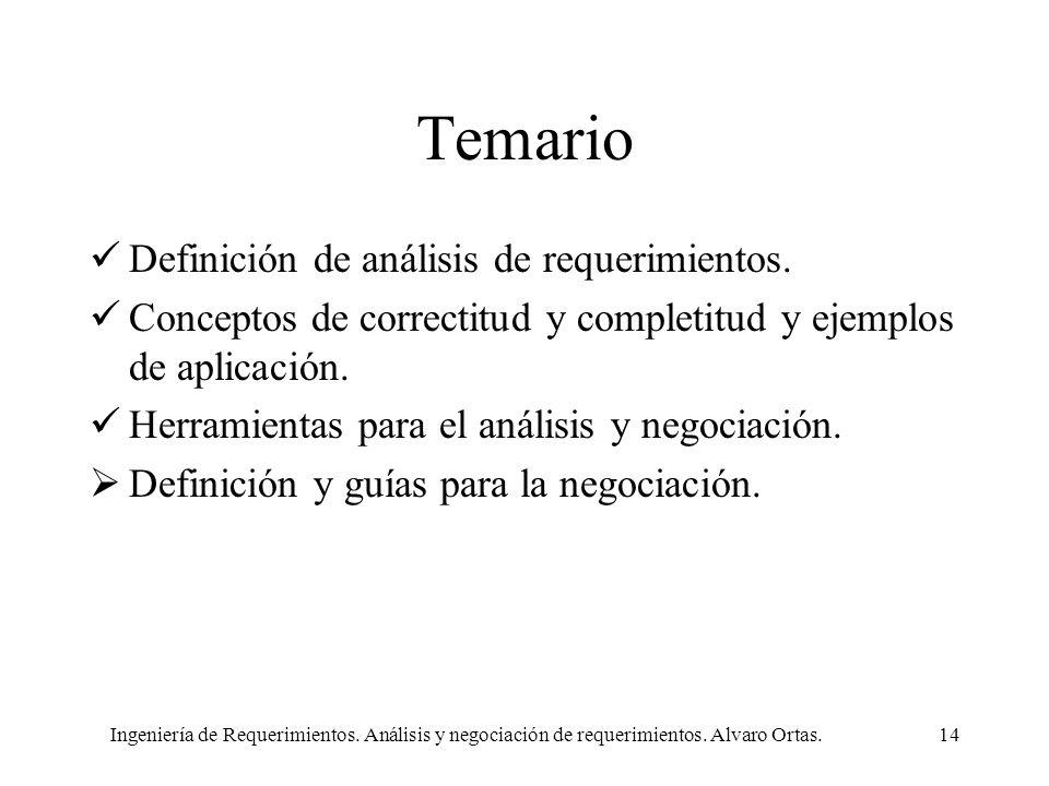 Ingeniería de Requerimientos. Análisis y negociación de requerimientos. Alvaro Ortas.14 Temario Definición de análisis de requerimientos. Conceptos de