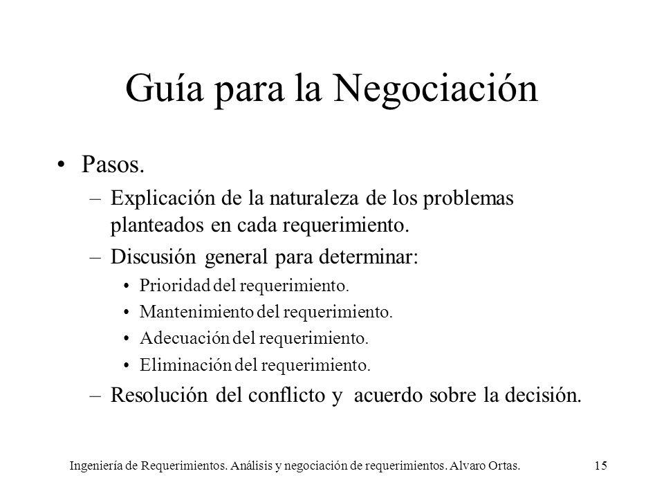 Ingeniería de Requerimientos. Análisis y negociación de requerimientos. Alvaro Ortas.15 Guía para la Negociación Pasos. –Explicación de la naturaleza