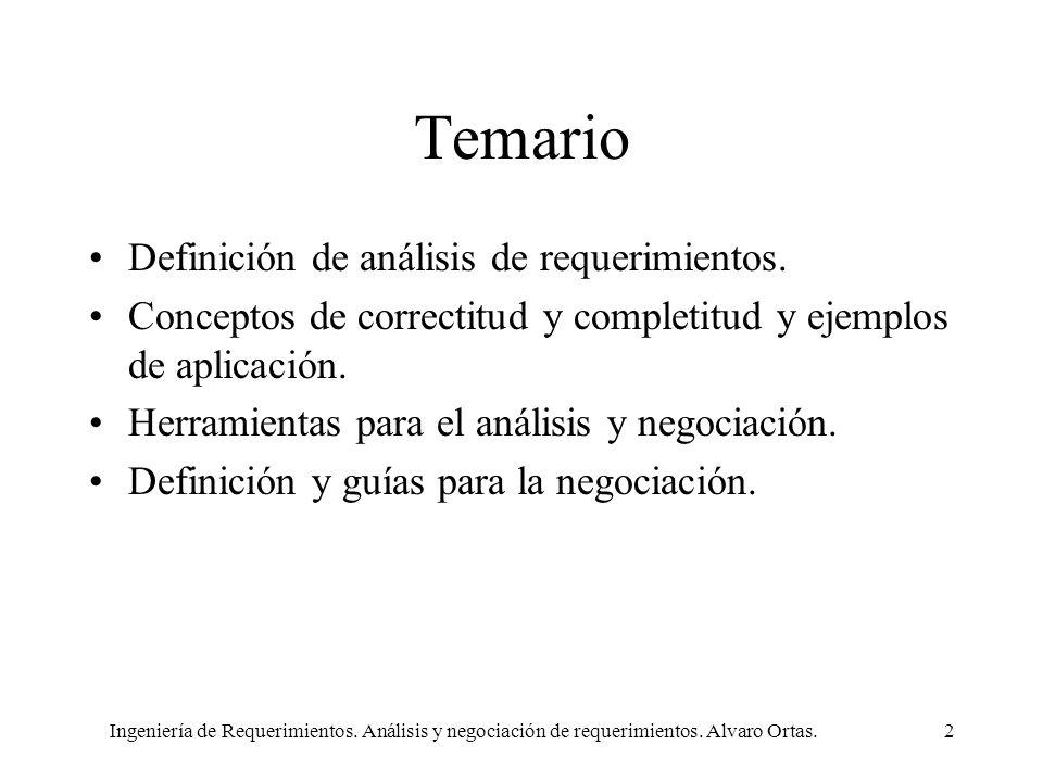 Ingeniería de Requerimientos. Análisis y negociación de requerimientos. Alvaro Ortas.2 Temario Definición de análisis de requerimientos. Conceptos de