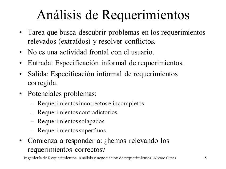 Ingeniería de Requerimientos. Análisis y negociación de requerimientos. Alvaro Ortas.5 Análisis de Requerimientos Tarea que busca descubrir problemas