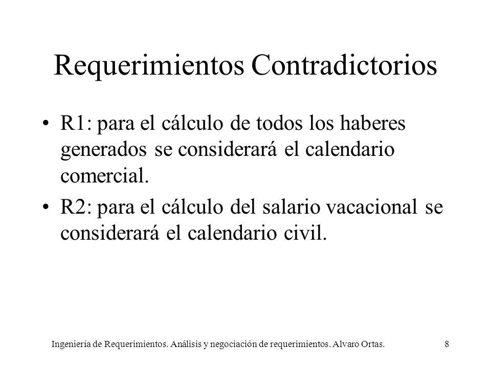 Ingeniería de Requerimientos. Análisis y negociación de requerimientos. Alvaro Ortas.8 Requerimientos Contradictorios R1: para el cálculo de todos los