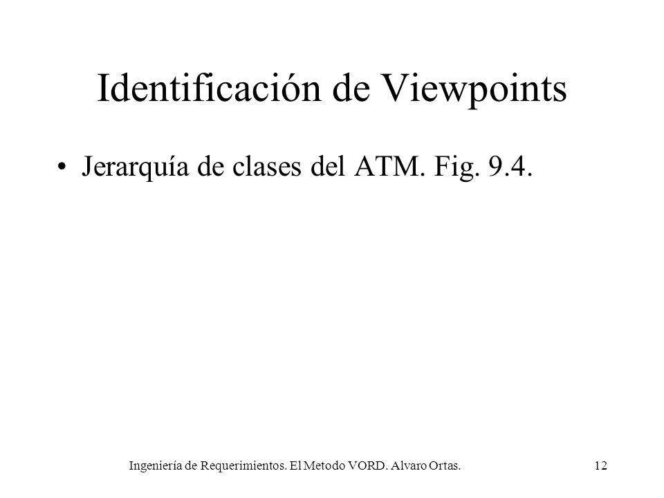 Ingeniería de Requerimientos. El Metodo VORD. Alvaro Ortas.12 Identificación de Viewpoints Jerarquía de clases del ATM. Fig. 9.4.