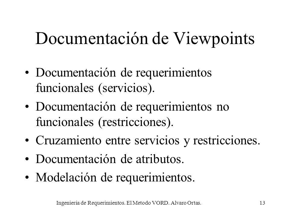 Ingeniería de Requerimientos. El Metodo VORD. Alvaro Ortas.13 Documentación de Viewpoints Documentación de requerimientos funcionales (servicios). Doc