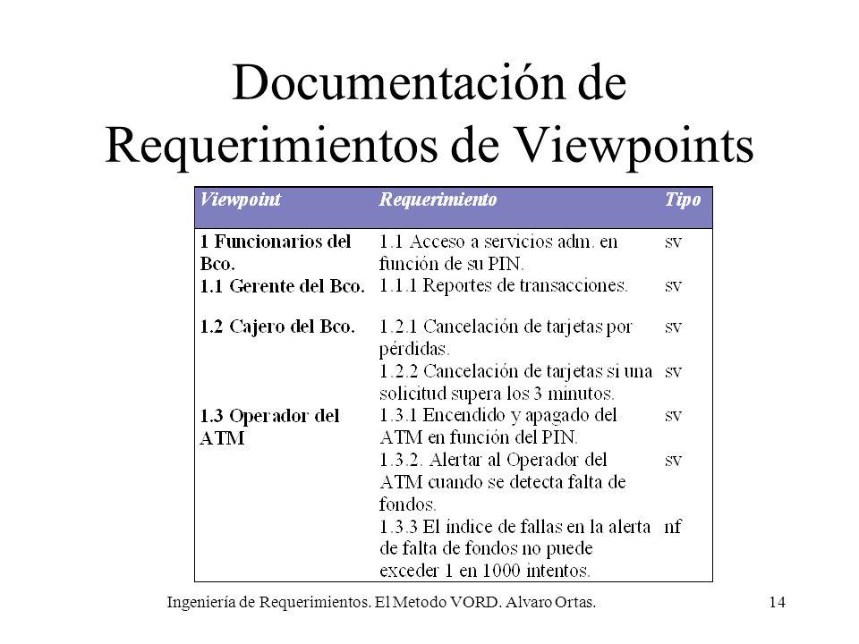 Ingeniería de Requerimientos. El Metodo VORD. Alvaro Ortas.14 Documentación de Requerimientos de Viewpoints