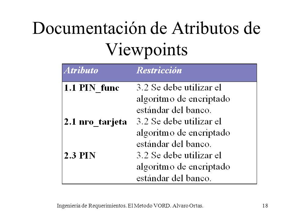 Ingeniería de Requerimientos. El Metodo VORD. Alvaro Ortas.18 Documentación de Atributos de Viewpoints