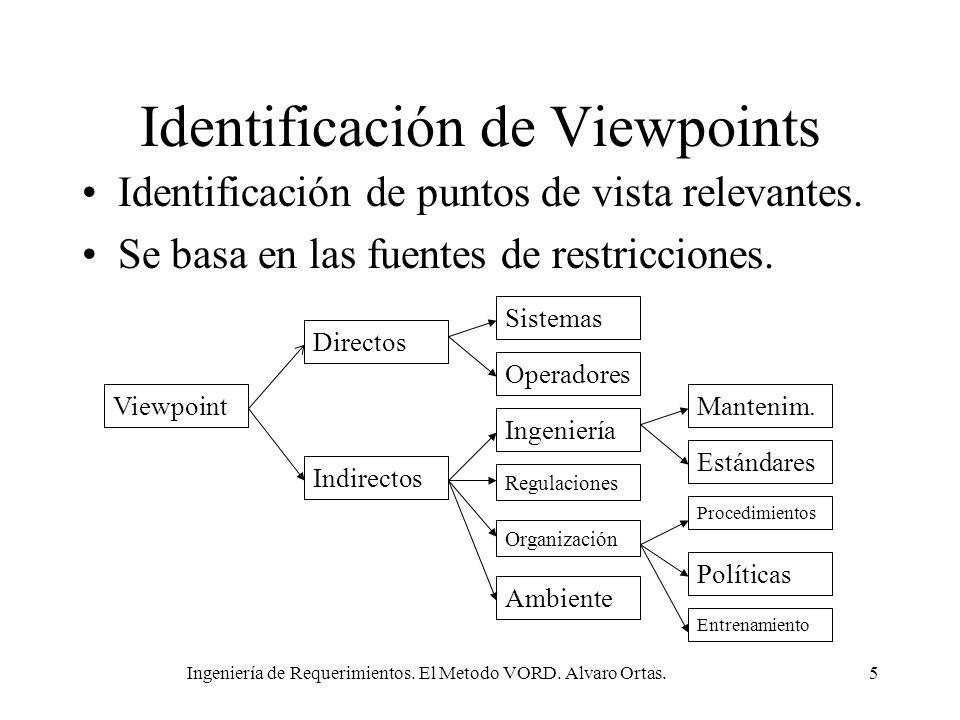 Ingeniería de Requerimientos. El Metodo VORD. Alvaro Ortas.5 Identificación de Viewpoints Identificación de puntos de vista relevantes. Se basa en las