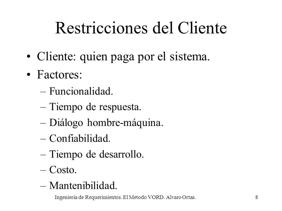 Ingeniería de Requerimientos. El Metodo VORD. Alvaro Ortas.8 Restricciones del Cliente Cliente: quien paga por el sistema. Factores: –Funcionalidad. –